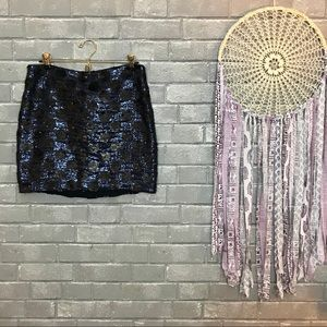 broadway & broome // black blue sequined skirt 6